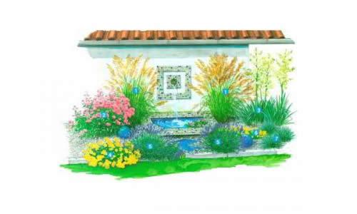 Средиземноморский цветник с фонтаном