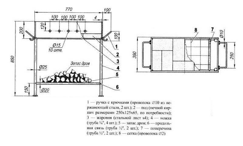Схема мангала из металла фото 166