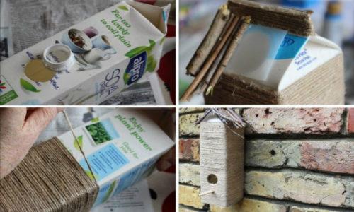 Пакет тетрапак из-под сока или молока — уже готовая кормушка, в которой нужно только проделать окошко для птицы и сделать петельку